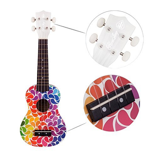 Honsing Soprano Ukulele Colorful Floral petal Painting Hawaii kids Guitar 21 inch Gift for Beginner matte finish - Image 2