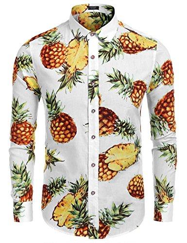 COOFANDY Men's Pineapple Print Hawaiian Long Sleeve Tropical Floral Button Down Shirt,White,Small