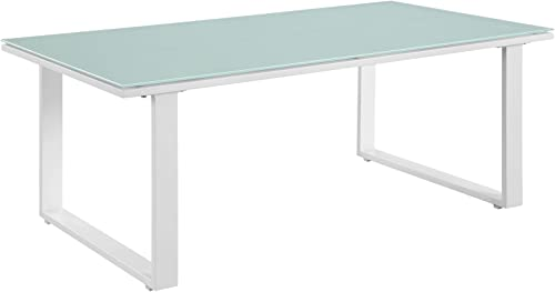 Modway Fortuna Aluminum Glass Outdoor Patio 44″ Coffee Table