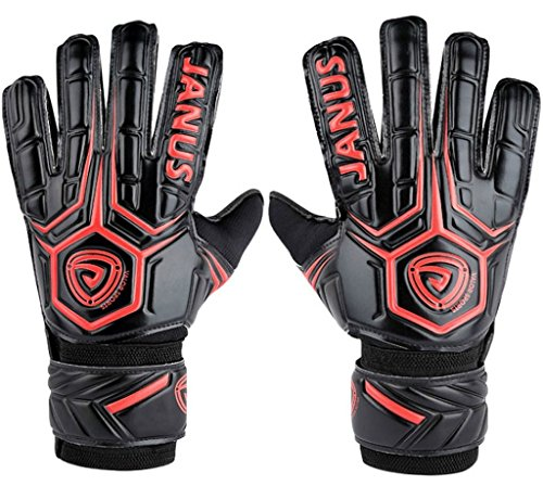 Coodoo Adult & Youth Soccer Goalkeeper Gloves with Pro Finger Protect 3.6mm Strong Grip German Latex Palm,Double Rip-Tab Strap, All Purpose Match Training, Designed for Performance(Size 8, Red) (Double Receiver Football Gloves Grip)