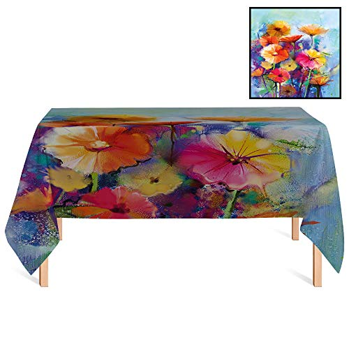 SATVSHOP Rectangle Tablecloth,/60x84 Rectangular,Floral Abstract Flower Bouquet in Soft Watercolors Daisies and Gerberas Spring Seasonal for Wedding/Banquet/Restaurant.
