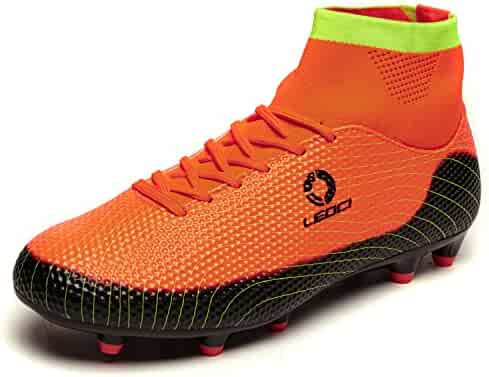 65823fd20aa WAWEN Men s Soccer Cleats Athletic Outdoor Flexible High Top Football  Training Boots(Kid Youth