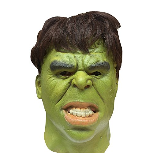 [Avengers Hulk Adult Latex Deluxe Costume Mask With Hair] (Hulk Costumes Adults)