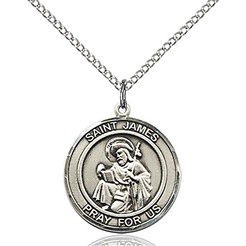 Bonyak Jewelry Custom Engraved Sterling Silver St. James The Greater Pendant 3/4 x 5/8 inches with 18 inch Sterling Silver Curb Chain (James Sterling Silver Medal)