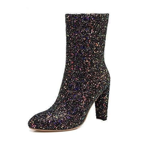 JIEEME Ladies Sexy Block Heels Zipper Black Silver Round Toe Ankle Women Boots Black