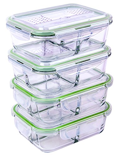 - [4 PACK] FreshSav Series 35.5 oz 3-Compartment Glass Meal Prep Food Storage Containers Set Airtight locking Lids | Microwave, Freezer, Oven & Dishwasher Safe | 2 Regular Lid + 2 Lid with Utensils