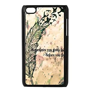 Super Hipster Feather Quote Protective Hard PC Back Fits Cover Case for iPod Touch 4, 4G (4th Generation)