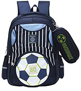 Moonmo Boys Backpack Soccer Printed Kids School Bookbag for Primary Students (Dark Blue)