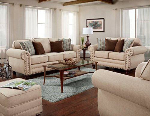 American Furniture Classics 4 Piece Set including Sofa, Loveseat, Chair and Ottoman, Abington Sand