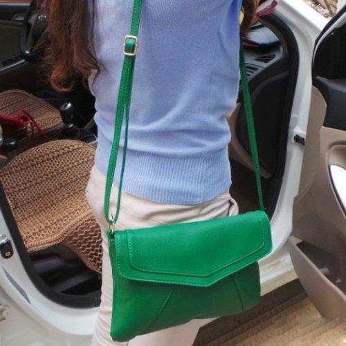 SODIAL(R) Borsa busta delle nuove donne di modo del cuoio del messaggero borse borsa spalla Crossbody Croce body bags delle borse cartelle Bolsas verde