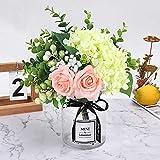 HEBE Ins Style Artificial Rose Flower Bouquet with Glass Vase Set 1 Piece Fake Rose Hydrangea Berry Leaf Plants Flower Arrangement in Vase for Wedding Party Desktop Home Decor
