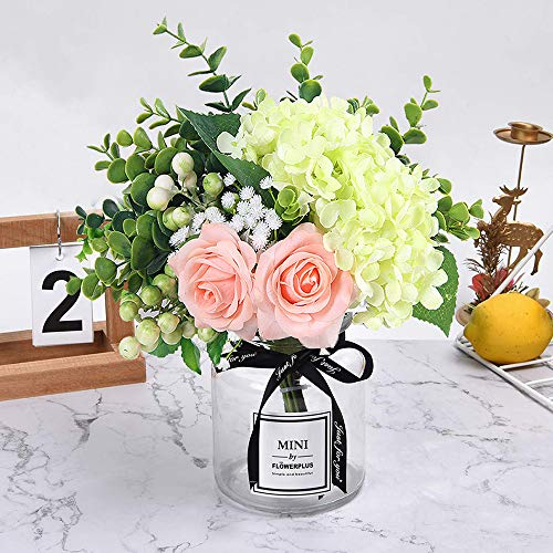 HEBE Ins Style Artificial Rose Flower Bouquet with Glass Vase Set 1 Piece Fake Rose Hydrangea Berry Leaf Plants Flower Arrangement in Vase for Wedding Party Desktop Home Decor (With Glass Artificial Vase Flowers)
