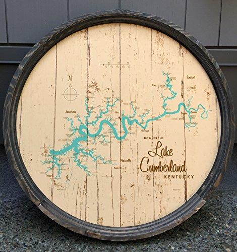 Lake Cumberland Map Barrel End by LakeboundShop