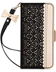 "WWW Samsung Galaxy S10 Plus Case,Galaxy S10 Plus Wallet Case, [Luxurious Romantic Carved Flower] Leather Wallet Case [Inside Makeup Mirror] [Kickstand Feature] for Galaxy S10 Plus 6.4""(2019) Black"