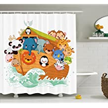 Religious Shower Curtain by Ambesonne, Cute Graphic Print of Figure with Mythic Animals in Boat Ancient Story Lion Sea, Fabric Bathroom Decor Set with Hooks, 70 Inches, Multicolor