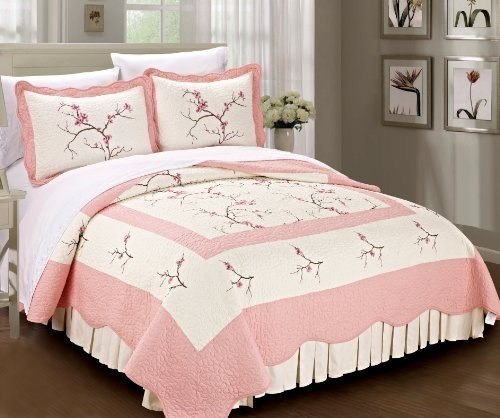 Bedding Blossom Set - Serenta Classic Embroidery Prewashed Microfiber Cotton Filled Bedspread Quilt 3 Piece Bed Set, Queen, Pink Cherry Blossom