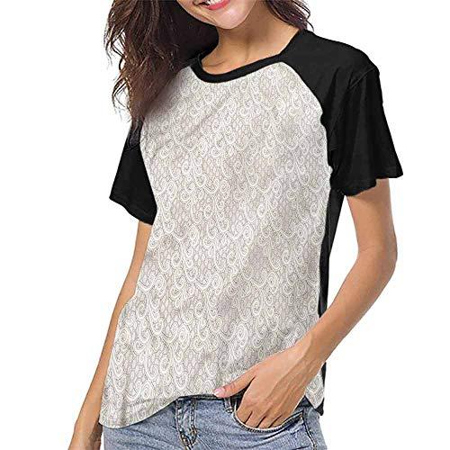 Shirts,Cream,Old Fashion Lace Floral Motif S-XXL Print Short Sleeve