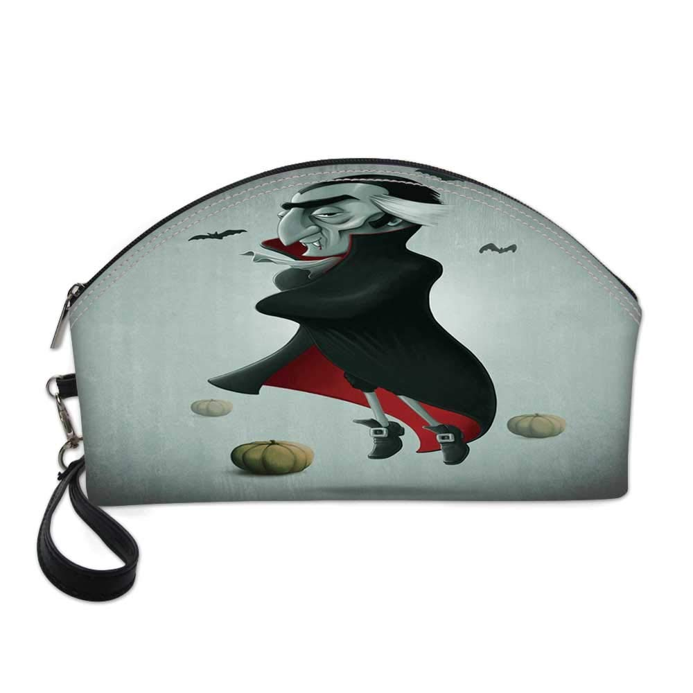 Vampire Small Portable Cosmetic Bag,Creepy Halloween Night Pumpkins and Old Vampire with Cape Flying Bats For Women,Half Moon Shell Shape One size