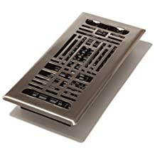 Decor Grates ATH410-NKL 4-Inch by 10-Inch Artisan Plated Floor Register, Nickel