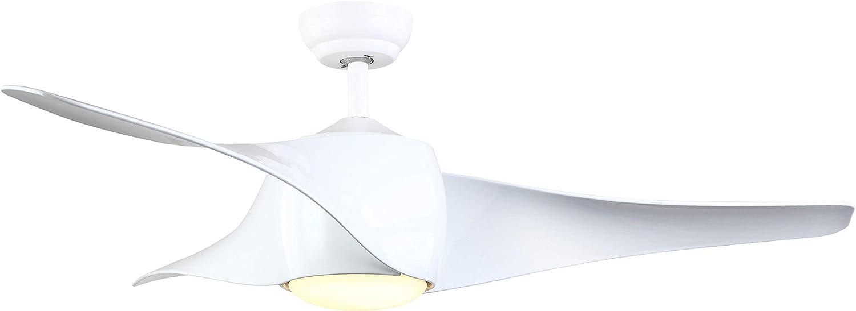 Interfan Ventilador de techo DC Roll, 3 tonos de luz, con mando a ...