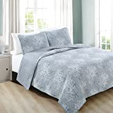 beach cottage decor Home Fashion Designs 3-Piece Coastal Beach Theme Quilt Set with Shams. Soft All-Season Luxury Microfiber Reversible Bedspread and Coverlet. Fenwick Collection Brand. (Full/Queen, Pearl Blue)