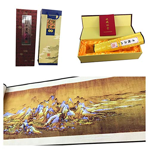 Qiny Chinese Scroll Painting Silk Painting Replica of Chinese Famous Painting Thousands Miles of Mountains and Rivers