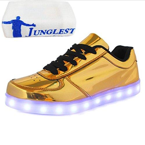 (Present:kleines Handtuch)JUNGLEST® 7 Farbe LED Leuchtend Aufladen USB Erwachsene Paare Schuhe Herbst und Winter Sport schuhe Freizeitschuhe Leucht la Goldene