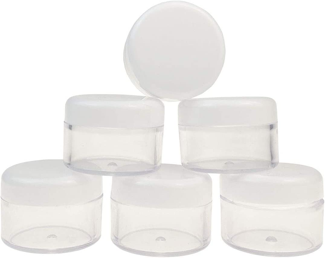 50PCS 20G/0.67OZ Round Empty Clear Plastic Jars Containers With White Lids Kitchen Food Storage Bottles Case Box For Cosmetics Lotion Face Creams Toners Lips Makeup Samples Butters Body/Sugar Scrubs