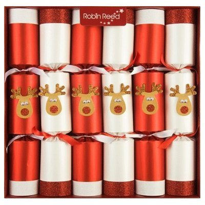 Set of 6 Racing Glitter Reindeer Christmas Crackers 701