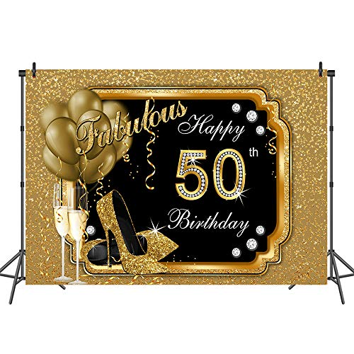 Mehofoto Happy 50th Birthday Backdrop Glitter Gold Balloons and Heels Photography Background 7x5ft Gold and Black 50th Fabulous Vinyl Photography Backdrops Birthday Decorations]()