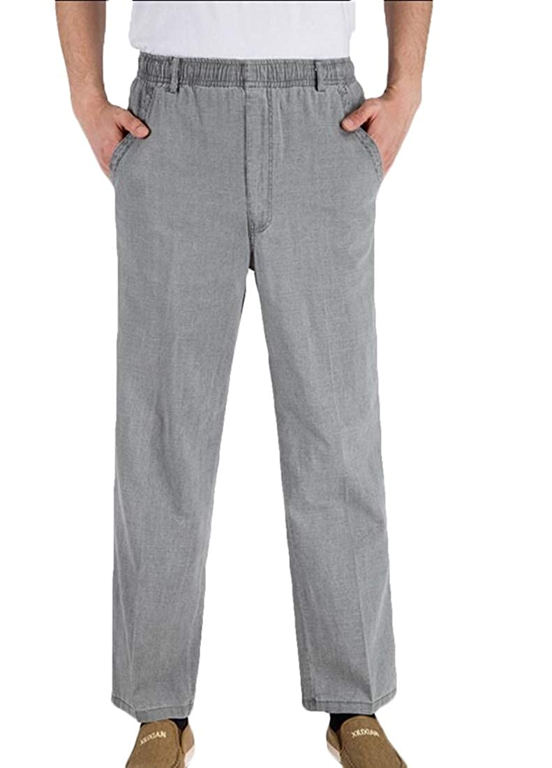 zhaoabao Mens Leisure Straight Leg Elastic Waistband Linen Solid Loose Pants