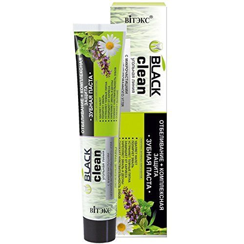 Whitening toothpaste with micro-particles of black coal and medicinal herbs EUROPE-BELARUS