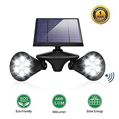 Solar Lights Outdoor Motion Sensor Double Spotlights UZEXON 2-in-1 Dual Head 12 LED Super Bright 360 Degree Rotatable Solar Led Lighting Outdoor Lights for Yard Garage Driveway Wall Patio Porch Garden