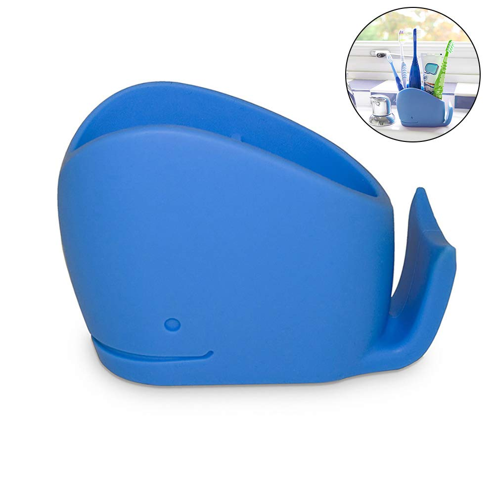 Ouken 1pc Blue Whale Toothbrush and Toothpaste holder for