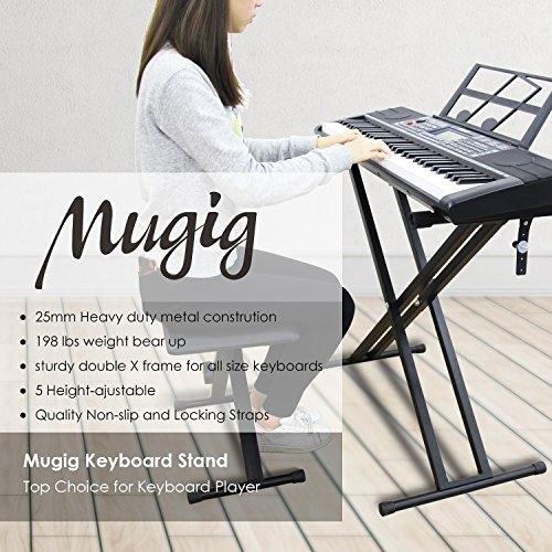 Keyboard Stand, Ajustable Piano Stand, Heavy Duty X-Style Double Braced with Locking Straps for Keyboard and Piano, Mugig by Mugig (Image #1)