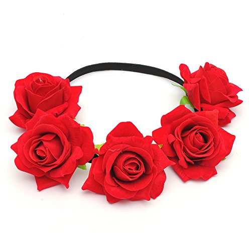 DreamLily Rose Flower Crown Wedding Festival Headband Hair Garland Wedding Headpiece (1-Red)