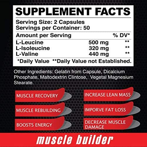 Maximun BCAA Branched Chain Amino Acids Muscle Builder – Increase Cell Protein Capacity – 100 Capsules