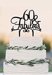60 Cake Topper Fabulous 60th Birthday Wedding Black And