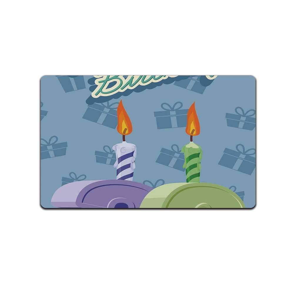 YOLIYANA 36th Birthday Decorations Soft Doormat,Birthday Party 36 Candles on Baby Blue Backdrop Image for Home Office,31'' Lx19 W