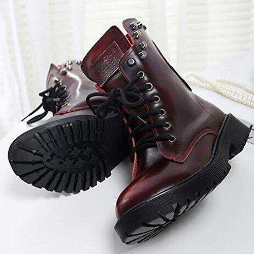 au taille une Chelsea Clous Femme Hiver OALEEN dessus Rangers en Vrai Crane Bottes Bloc Chaussures Talon Cuir Lacets Commandez Boots BaTwqxUB