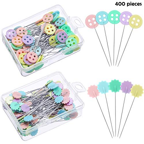 400 Pieces Flat Head Straight Pins Flower Head Sewing Pins Button Head Quilting Pins Mixed Color Decorative Pins for Sewing DIY Crafts and Projects