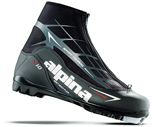 Alpina Sports T10 Touring Cross Country Nordic Ski Boots, Euro 47, Black/White/Red