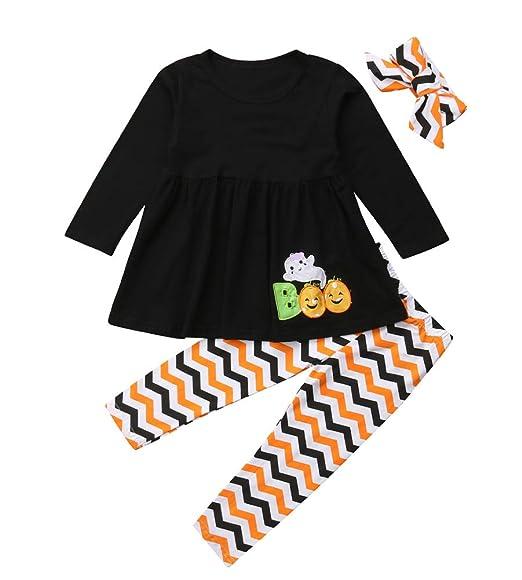 2da0e800f21 Thanksgiving Day Clothing Sets Kids Baby Girls Long Sleeve Tops Dress+  Turkey Legging Outfit (Black
