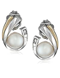 Sterling Silver, 14k Yellow Gold, and Freshwater Cultured Pearl (5.0-5.5 mm) and Diamond Earrings