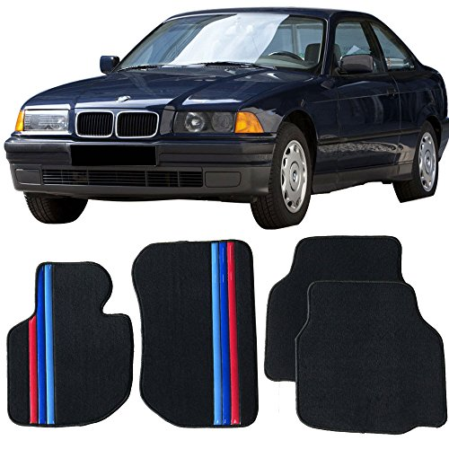 Floor Mat Fits 1992-1998 E36 3-Series | Front & Rear Factory M Color Stripe Car Floor Carpets Carpet liner by IKON MOTORSPORTS | ?1993 1994 1995 1996 1997