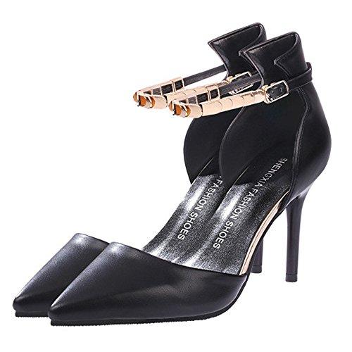 Stilettos Haut Cheville Mode Femmes De Bride Pointu Talon Des Bout Chaussures Sandales Minetom Noir qzZRw4w