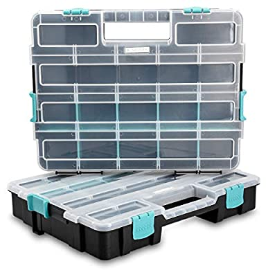 Navaris Plastic Storage Box - Stackable Organizer Case with Adjustable and Removable Divider Compartment for Tools, Small Items, Jewelry - 2 Boxes