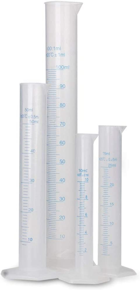 Rocita Cilindro medidor Graduado de plástico Transparente 10/25/50/100 ML de Resistencia a la corrosión, Cilindro de medición de plástico, química, Laboratorio, Herramienta de medición, 4 Piezas