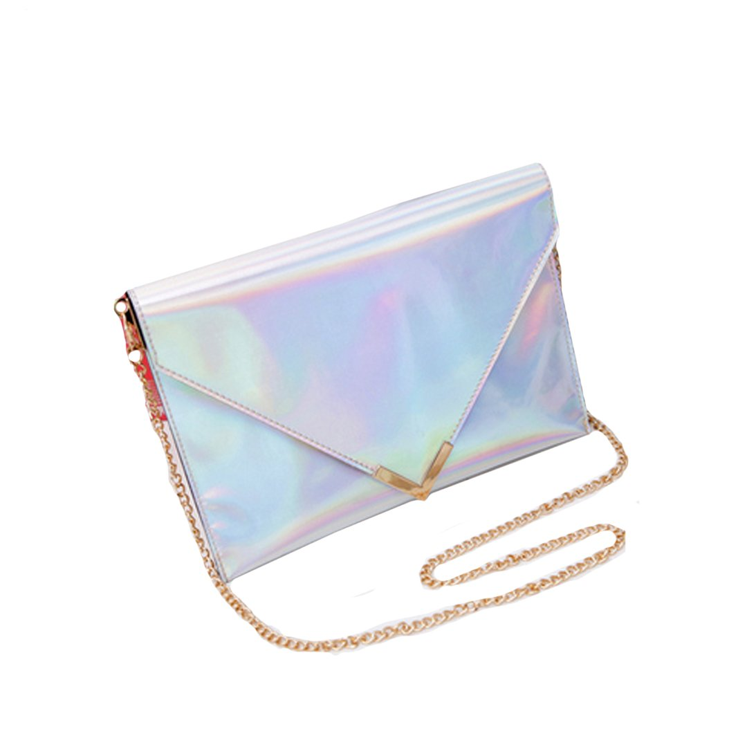 Monique Women Colorful Holographic Handbag Clutch Mini Envelope Bag Fashion Chain Sling Bag Shoulder Bag Evening Party Beach Cross-body Bag Satchel Silver
