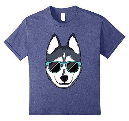 unisex-child Alaskan Klee Malamute Siberian Husky with Sunglasses T Shirt 12 Heather (Alaskan Malamute Siberian Husky)